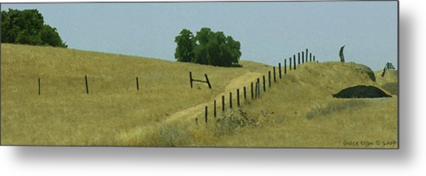 Metal Print featuring the digital art Field Fence by Grace Dillon