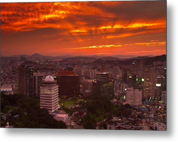 Fiery Seoul Sunset Metal Print by Gabor Pozsgai