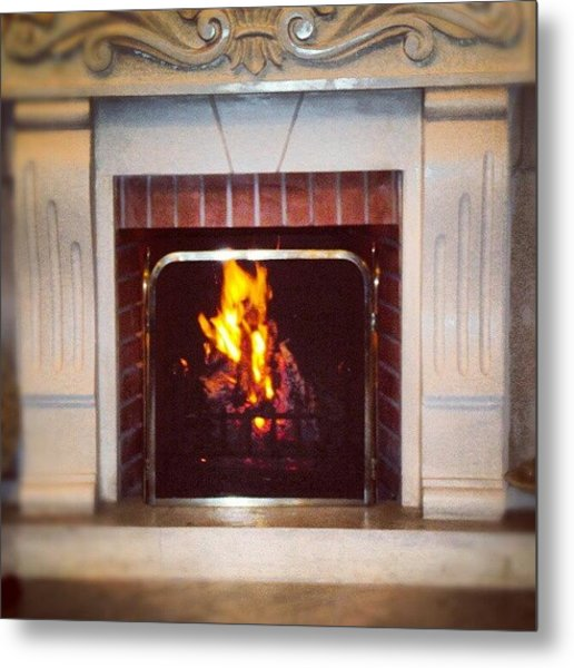 #fire #fireplace #classic #igaddict Metal Print