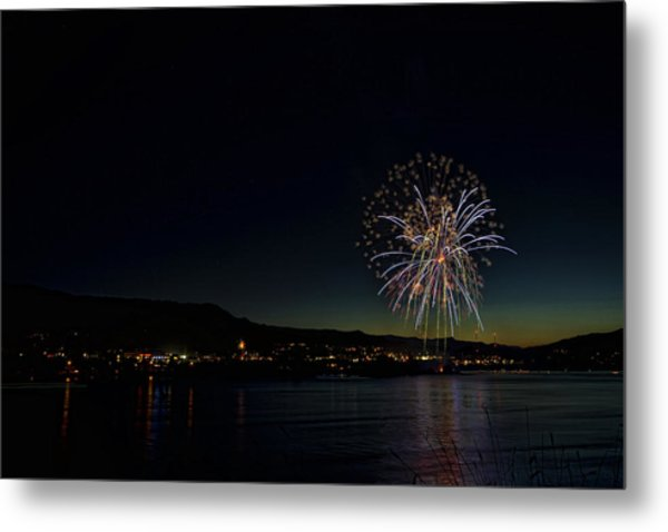 Fireworks On The River Metal Print