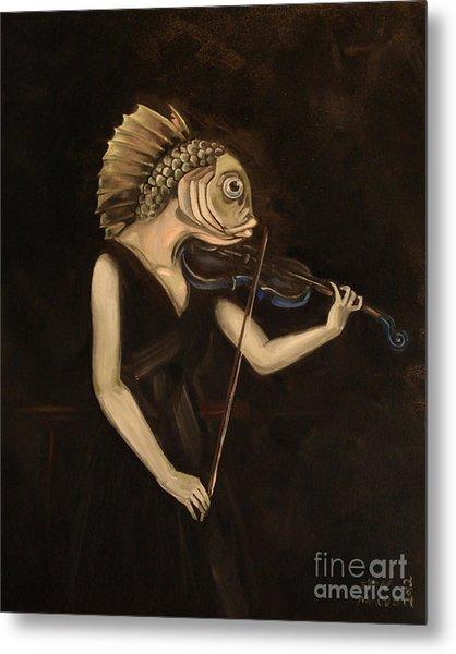 Fish With Violin Metal Print