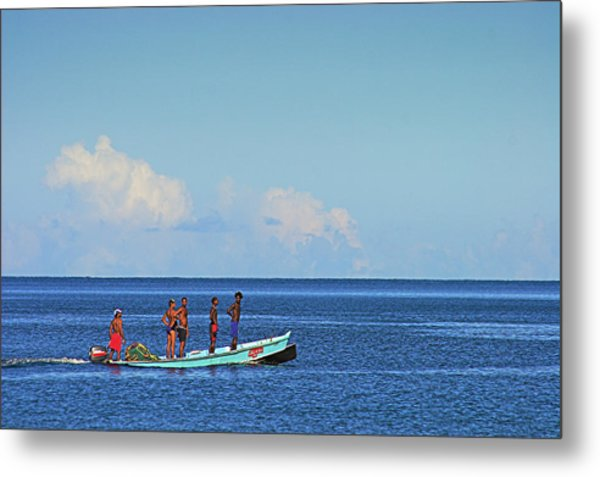 Fishermen And Canoe- St Lucia Metal Print