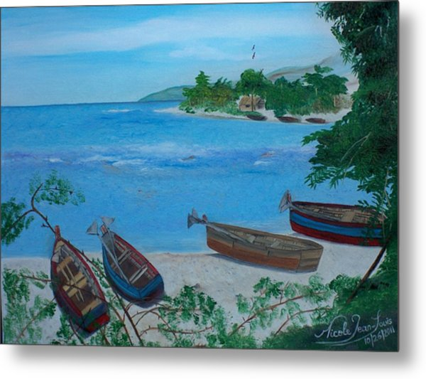 Fishermen Boats By The Sea Metal Print