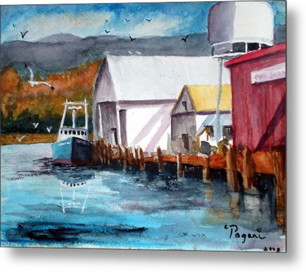 Fishing Boat And Dock Watercolor Metal Print