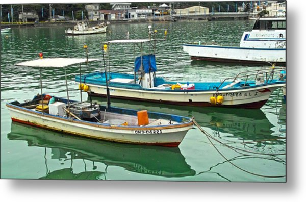 Fishing Boats - Okinawa Japan Metal Print by Jocelyn Kahawai