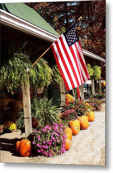 Flag Among The Pumpkins Metal Print by Judith Lawhon