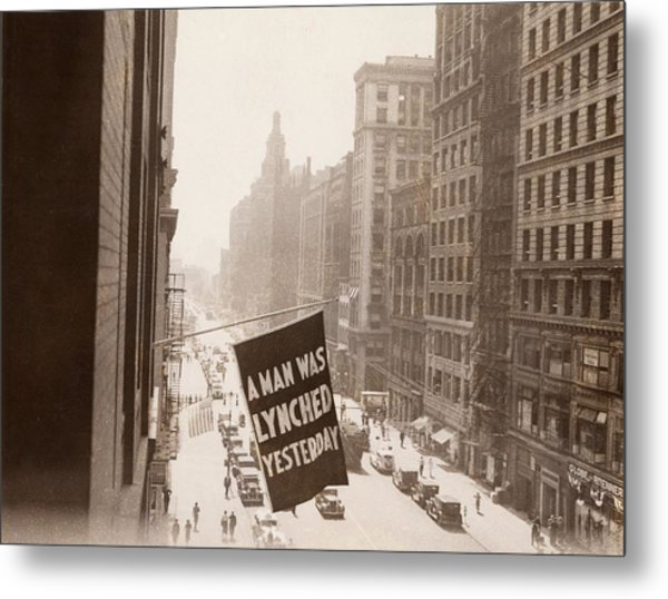 Flag Announcing Another Lynching. A Man Metal Print