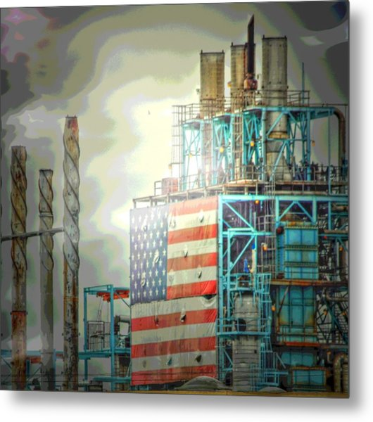 Flag On Refinery Metal Print