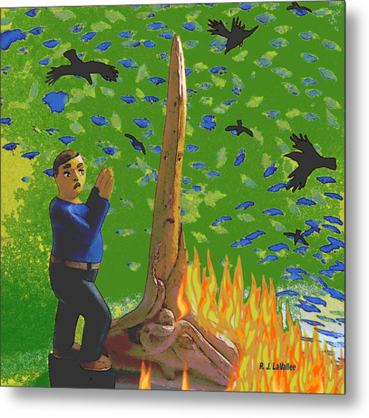 Flames From Driftwood Metal Print