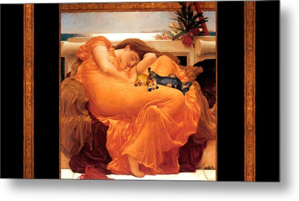 Flaming June Doxies Masterpiece Metal Print by Laura Sotka