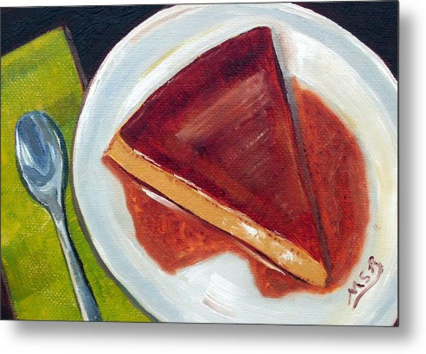 Flan Oil Painting Metal Print by Maria Soto Robbins