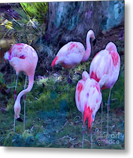 Metal Print featuring the painting Flippin' Flamingoes by Elinor Mavor