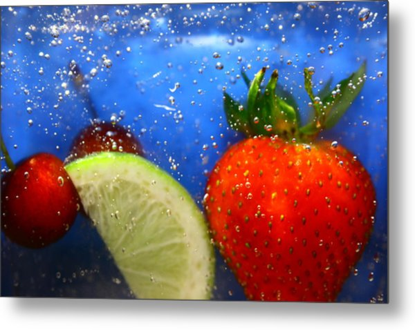Floating Fruit Metal Print