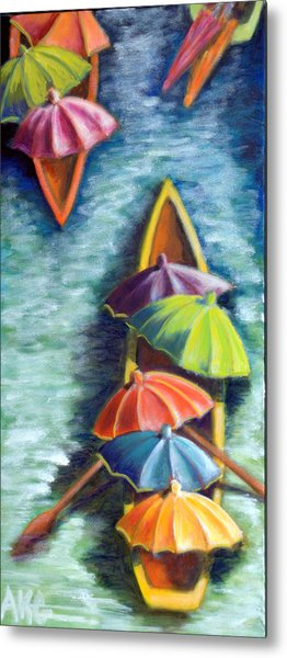 Floating Umbrellas Metal Print