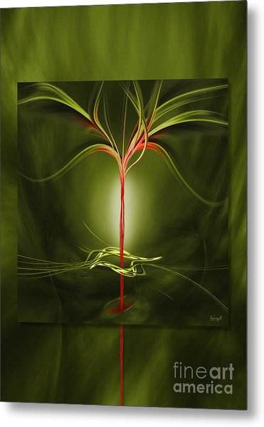 Floating With Red Flow 9 Green Metal Print
