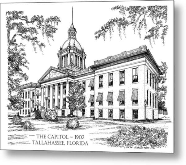 Florida Capitol 1902 Ink Metal Print
