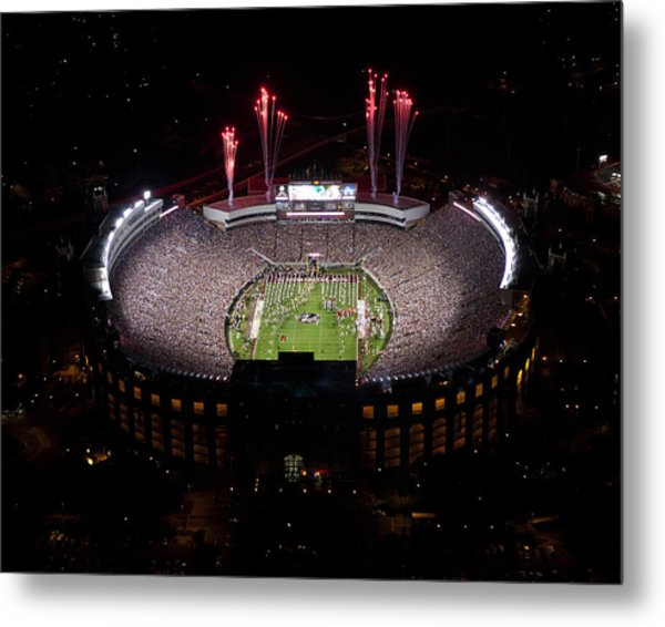 Florida State Fireworks Over Doak Campbell Stadium Aerial View Metal Print