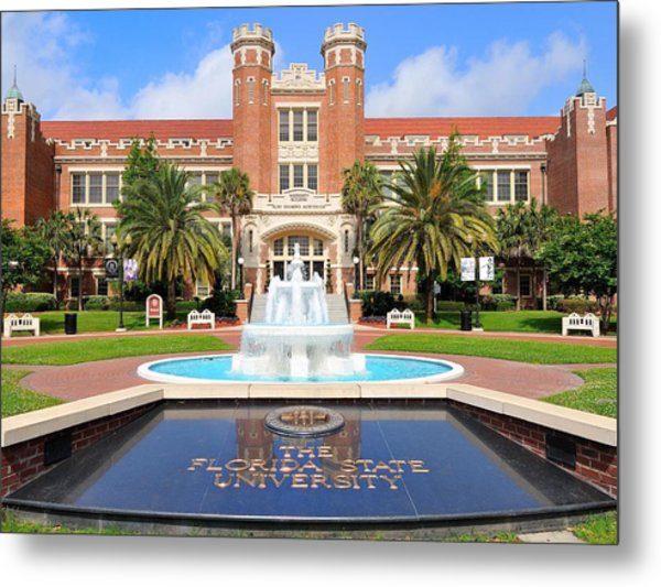 Florida State Fountain At The Westcott Building Metal Print