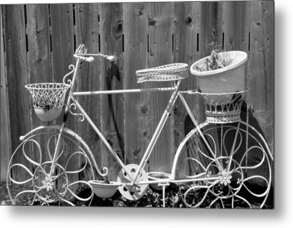 Flower Bike Metal Print