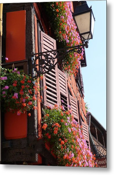Flower Boxes And Shutters In Alsace Metal Print by Christopher Mullard