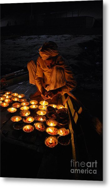 Flower Ceremony On The Ganges River Metal Print
