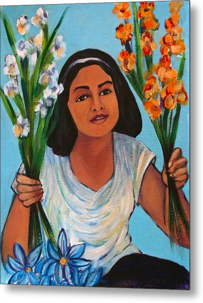 Flower Girl-day Of The Dead Metal Print