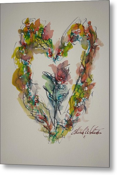 Flower Heart Song Metal Print by Edward Wolverton