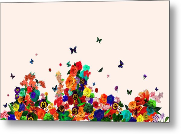 Flower Power Vintage Montage Metal Print by Carly Ralph