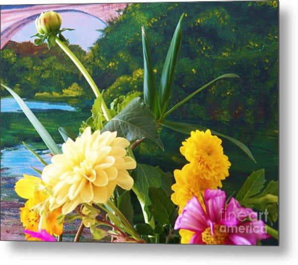 Flower River Island Metal Print by Judy Via-Wolff