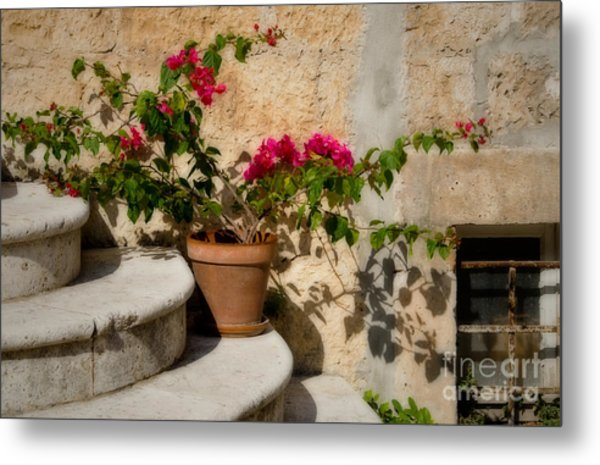Flowerpot On Stairs In Kocura Croatia Metal Print