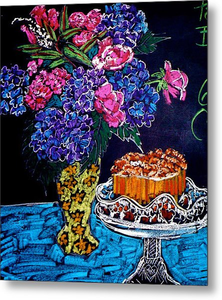 Flowers And Cake Metal Print