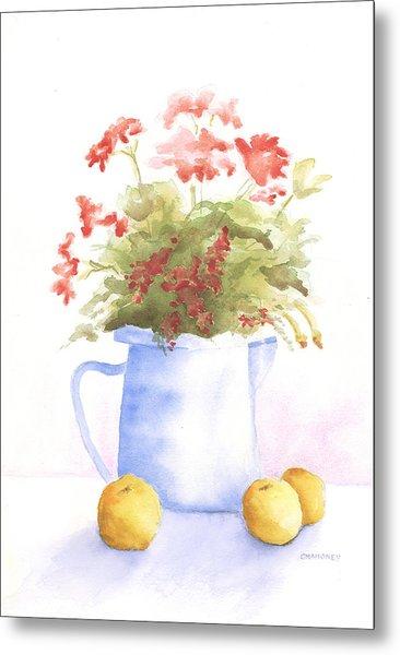 Flowers And Lemons Metal Print by Susan Mahoney