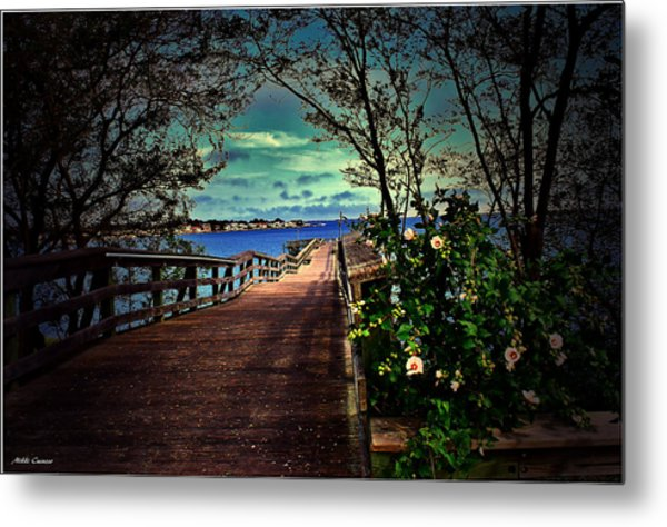 Flowers By The Pier Metal Print
