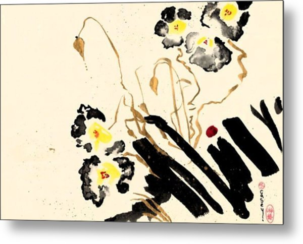 Flowers Grey Metal Print