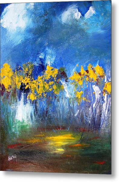 Flowers Of Maze In Blue Metal Print