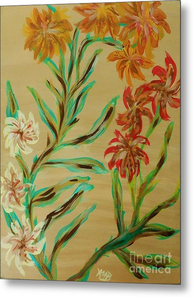 Flowers That Look Like Old Fashioned Wallpaper Metal Print by Marie Bulger