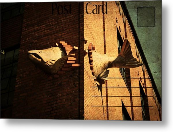 Flying Fish Postcard Metal Print by Cathie Tyler