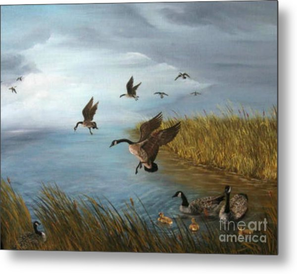 Flying Geese Metal Print