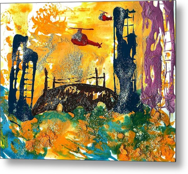 Flying Helicopters Over Turbulent Waters Metal Print