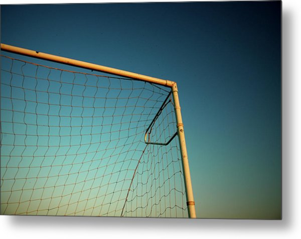 Football Goalpost And Net Metal Print