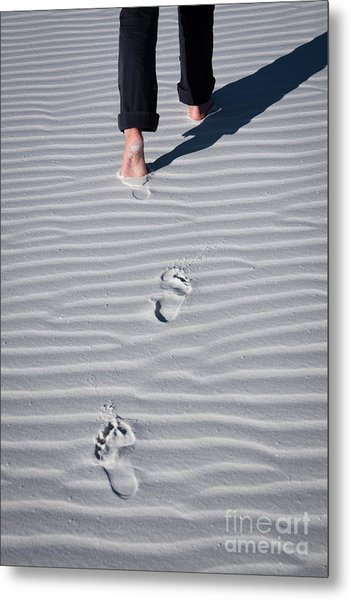 Footprint On White Sand Metal Print