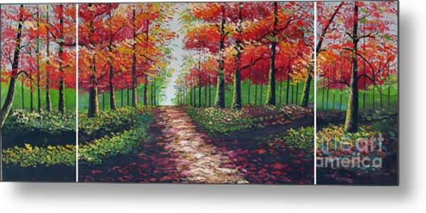 Forest Path Metal Print by Kostas Dendrinos