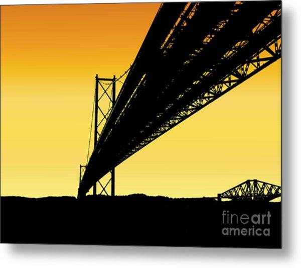 Forth Bridges Silhouette Metal Print