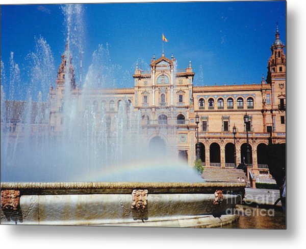 Fountain Rainbow Metal Print