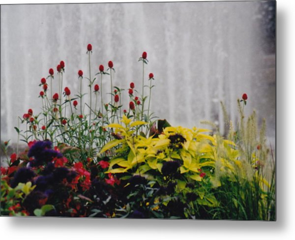 Fountains And Floral Metal Print