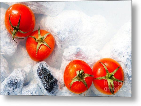 Four Red Tomatos  Metal Print by Agusta Gudrun Olafsdottir