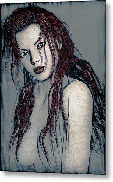 Foxy Redhead Metal Print