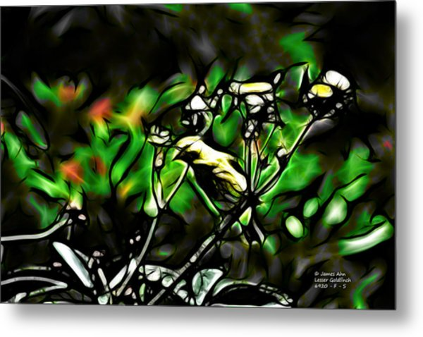 Fractal S - Take A Look - Lesser Goldfinch Metal Print