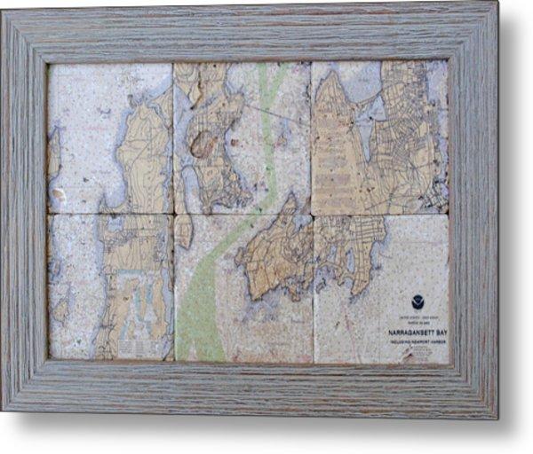Framed Narragansett Bay Tile Set Metal Print