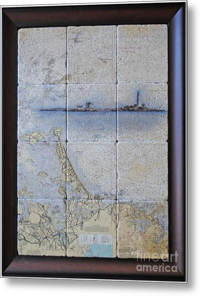 Framed Nautical Chart Of Hingham And Hull With Boston Light  Metal Print
